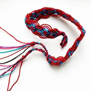 Vintage boho red & blue woven string bracelet